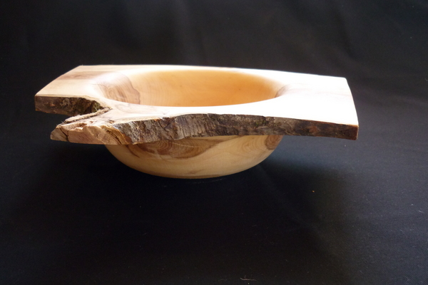 A bowl with a natural edge